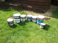 7 tins of Unused Paint . Dulux Trade,Johnstones Trade - various colours.