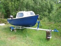 fibreglass fishing boat, 12 ft., with outboard, trailer, cuddy, oars, purpose made cockpit cover