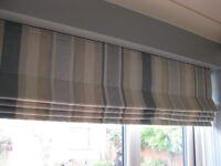 Roman Blind - in good condition - blue and cream striped.