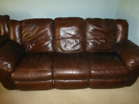 Brown Leather reclining furniture consisting of a 3 seater sofa, a 2 seater sofa and an armchair
