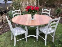 Shabby chic oak drop leaf gate leg dining table and 4 dining chairs Ideal space saving dining set