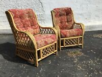 Cane chairs - two - with matching cushions