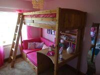 Classic Thuka High Sleeper with Fushia Pink Sofa Bed