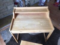 Child's wooden desk and chair. Discoloured slightly on top. Otherwise good condition. £10