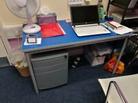Metal framed work/office table with blue top and under desk filing cabinet with key.