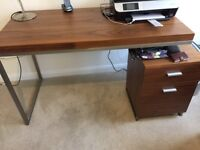 wood and satin chrome desk with pedestal unit