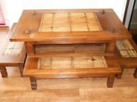 Traditional Thai Dining Table with 4 Benches