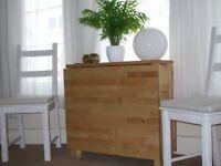 Table, gateleg, seats 2 - 4, birch, IKEA Norden, + 4 mismatched chairs