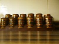 RETRO HORNSEA SPICE JARS AND STAND