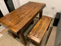 Chunky Rustic Wood Dining Table (123cm x 63cm) with 2 Benches