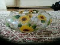 Hand painted glass bowl.