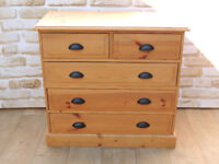 Chest of Drawers pine wood throughout Black handles (Delivery)