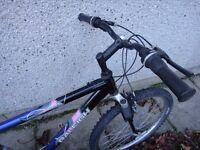 Raleigh free ride bike, 26 inch wheels ,18 inch aluminium frame ,21 gears front suspension