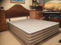 Divan double bed ( no storage ) with solid wood headboard free mattress