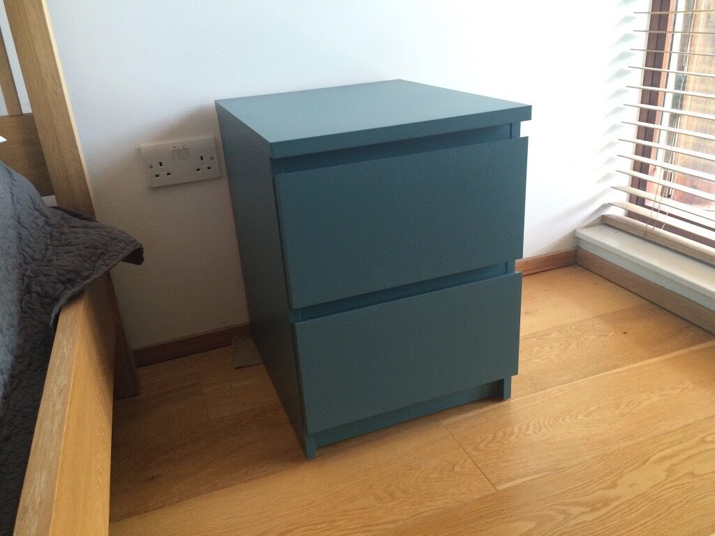 Excellent IKEA Malm Bedside tables blue/green turquoise | in Hampton, London  UY87