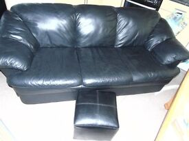BLACK LEATHER COUCHES 3 & 2 SEATER, THE PHOTOS DON'T SHOW THEM AT THEIR BEST
