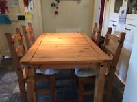 Rustic dining table and 4 chairs