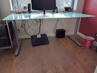 Large Glass Computer desk with Computer holder