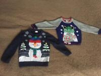 2 x Boys 18-24 months Christmas jumpers