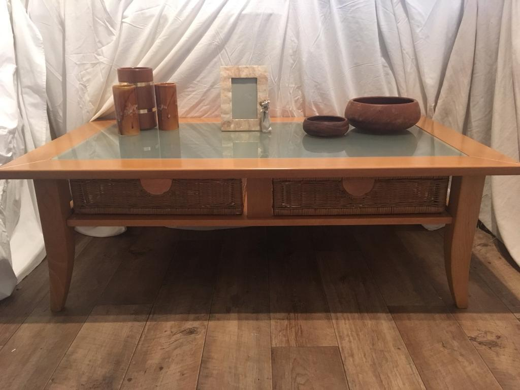 Solid Wood Beech And Frosted Gl Coffee Table With Wicker Basket Drawers