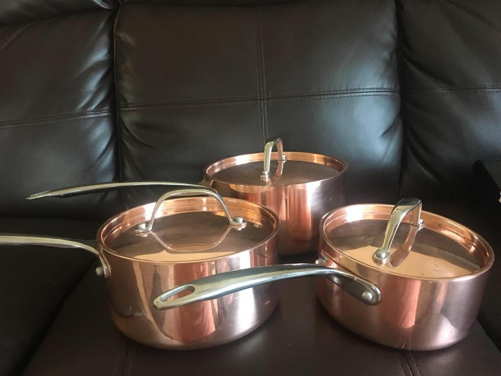 Used once - Sainsbury's Collection Copper Triply Saucepan with Handle Set 3pc