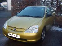 LOW MILAGE 02 HONDA CIVIC 3 DOOR 1.4 GREAT SPEC RECENT r NEW MOT NICE DRIVER £650