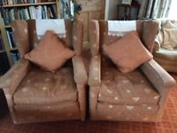 Armchairs, beautifully upholstered matching pair, feather filled cushions