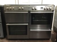 Belling dual fuel gas range cooker 110cm stainless steel double oven 3 months warranty free local de