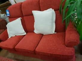 Three seater red sofa.. like new.. in excellent condition also have the matching 2 seater