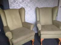 Wingback chairs 2 sets one red one green