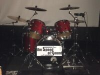 Slingerland drum kit in beautiful dark red with cases and snare stand