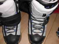Snowboard, boots, bindings, helmet and bag
