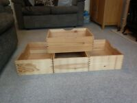 Pine storage drawers