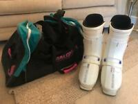 Saloman Ski boots with matching Hold-all Excellent condition