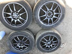 "4x100 15"" rota torque alloy wheels with tyres"