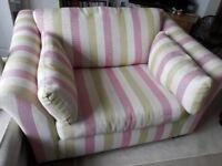 Beautiful NEXT candy stripe Snuggle Seat / Love Seat / Large Armchair