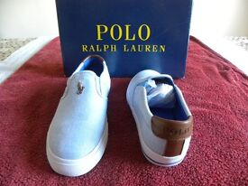 Ralph Lauren slip on Blue Vaughn NE Novelity canvas shoes SIZE 6