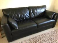 GENUINE LEATHER THREE SEAT BLACK SCREIBER SOFA