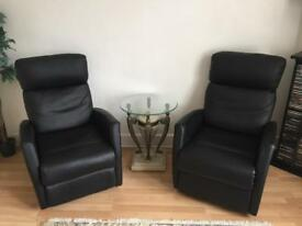 Reclining faux leather black chairsx2
