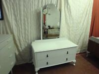 A Stylish Vintage Dressing Table Painted In Annie Sloan Old White And Clear Waxed.