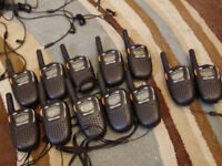 Twelve Cobra Microtalk MT525 two way radio walkie talkies and chargers, little used