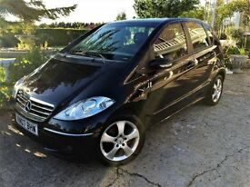 2007 MERCEDES A CLASS A150 AVANTGARDE SE 5DR BLACK WITH BLACK LEATHER INTERIOR 1 PREVIOUS OWNER