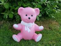 Teddy, pink/ white ; stone garden ornament