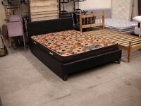 Brown leather pump lift double bed and mattress