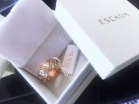 Escada yellow gold and Swarovski stones ring brand new in box