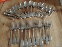 Vintage Forks and Spoons Stainless Nickel Silver H.H&S x 32pieces