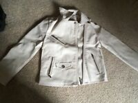 Girls cream leather Zara jacket