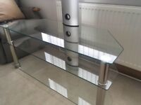 Glass and Chrome Effect TV Stand