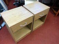 Bedside Cabinet - 1 Display Area and 1 Drawer Wooden Bedside Cabinet