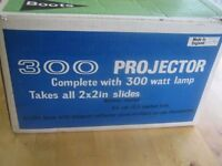 Vintage Boots 300 Slide Projector with Original Packaging and Instructions